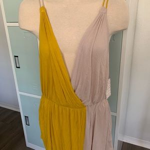 Mustard & tan free people tank top